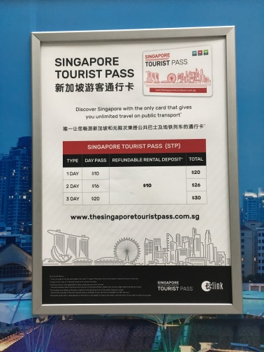 シンガポール MRTのツーリストパスの価格表掲示板