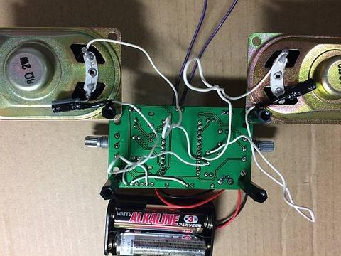 最強版 DSPコアTINYラジオキット K-SPK6959B C版」のスピーカを2つにしてステレオ化 配線