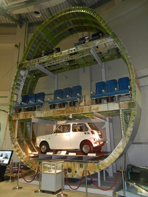成田 の 航空科学博物館 機体の胴体の断面