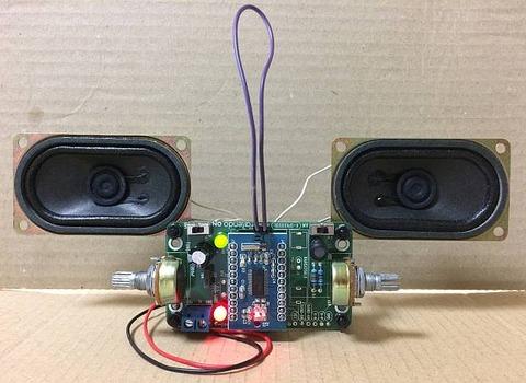 最強版 DSPコアTINYラジオキット K-SPK6959B C版」のスピーカを2つにしてステレオ化
