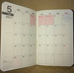 購入したダイソー(100均)の2017年手帳のカレンダーのカレンダーページ