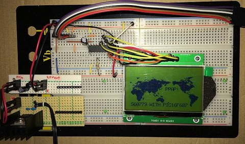 液晶モジュール(2P-S60779、液晶コントローラ:ST7565R)をPIC16F687で世界地図表示に加えて日本の横にPPAP!、一番下にS60779 WITH PIC16F687 を表示