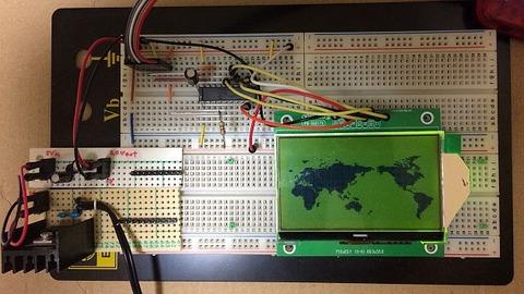 2P-S60779 (S60779)、解像度:128x64ドット、液晶コントローラ:ST7565R)に世界地図を表示しました。